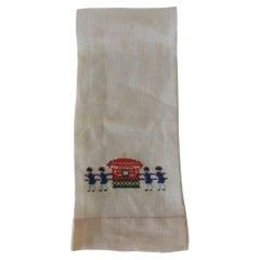 Vintage Linen Embroidery Guest Towel