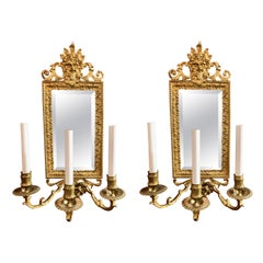 Pair Antique 19th Century Gold Bronze and Beveled Mirror Wall Lights