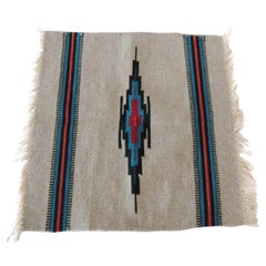 Turquoise and Red Southwestern Style Kilim Fragment with Fringes