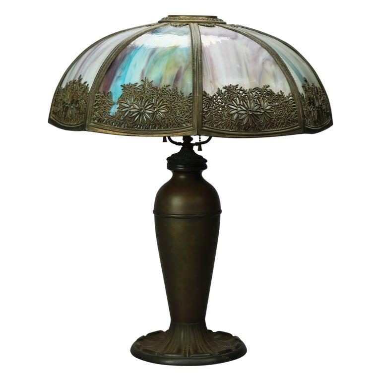 Antique Arts & Crafts Bradley & Hubbard School Slag Glass Table Lamp, c 1920 For Sale