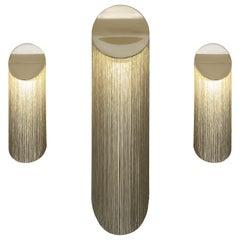 Cé Petite 12K Gold Wall Sconce Verdigris 'Green' Rayon Fringes by Studio d'Armes