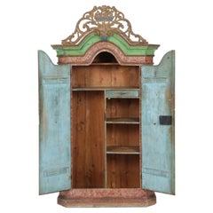 Antique Bavarian Hand-Painted Alpine Polychrome Schrank Cabinet, Armoir, 18th c