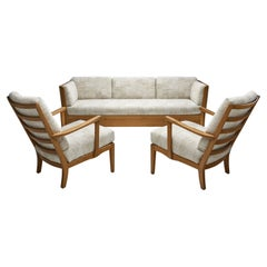 """Carl Malmsten Pine Sofa Bed and """"Visingsö"""" Armchairs, Sweden 1940s"""