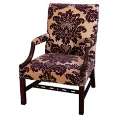 Antique English Georgian Style Upholstered Mahogany Lolling Chair, circa 1920