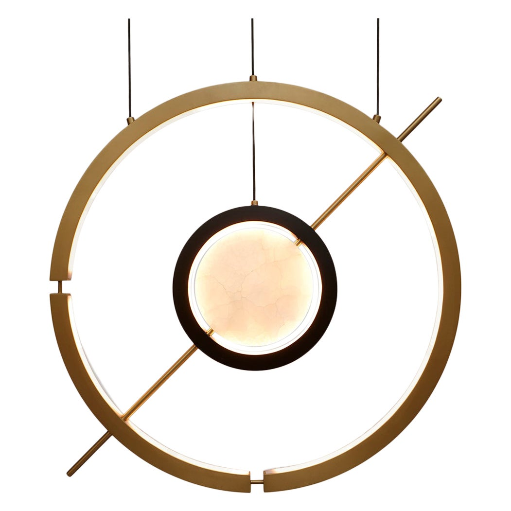Hubert Pendant Contemporary Light in Brass and Onyx by Studio A Designs