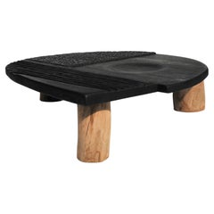 Hand Textured Contemporary Coffee Table in Two Tone Wood by Victor Hahner