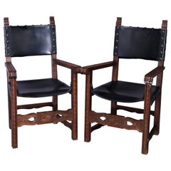 Antique Pair of Continental Jacobean Carved  Walnut & Leather Chairs, Circa 1900