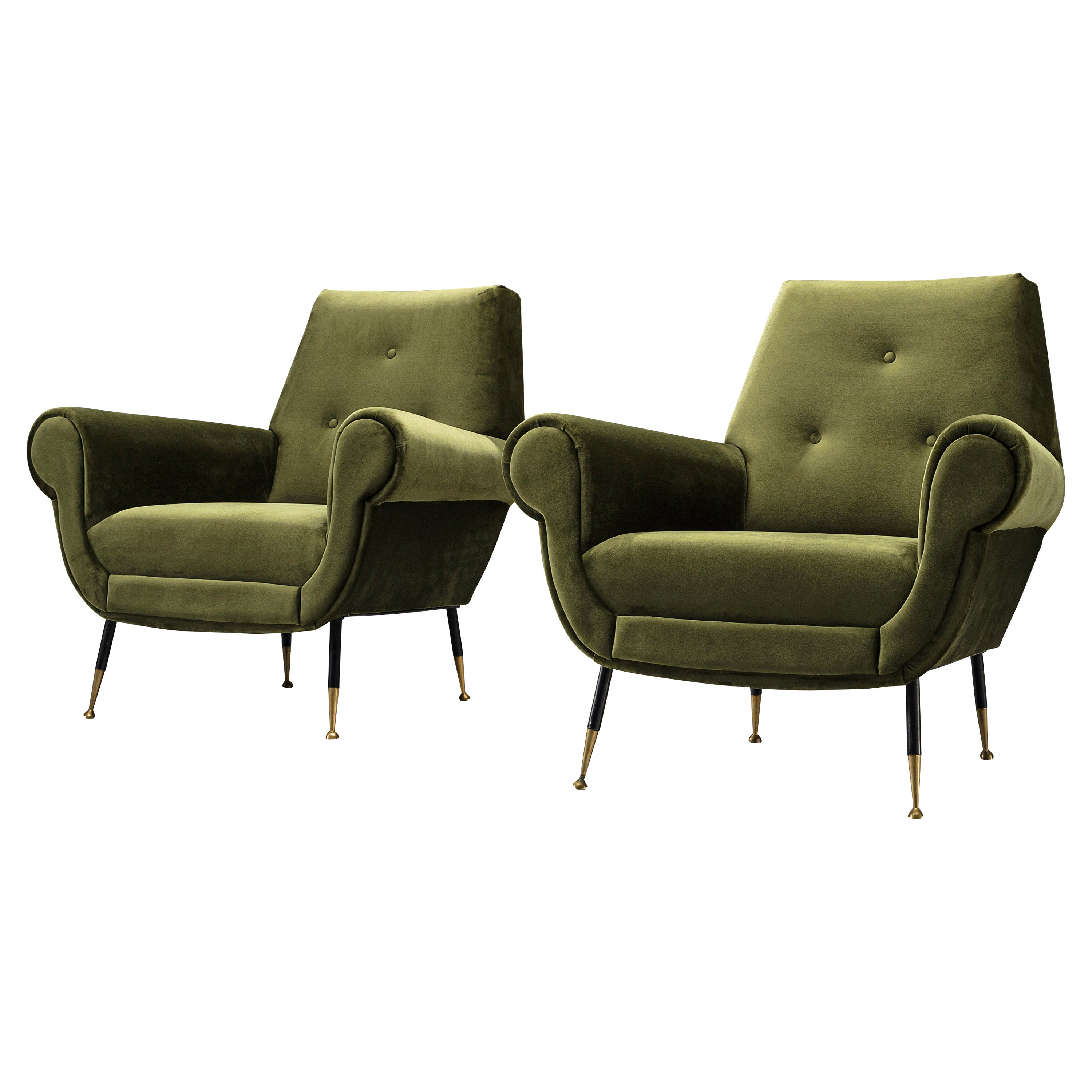 Italian Lounge Chairs in Green Velvet Upholstery and Brass