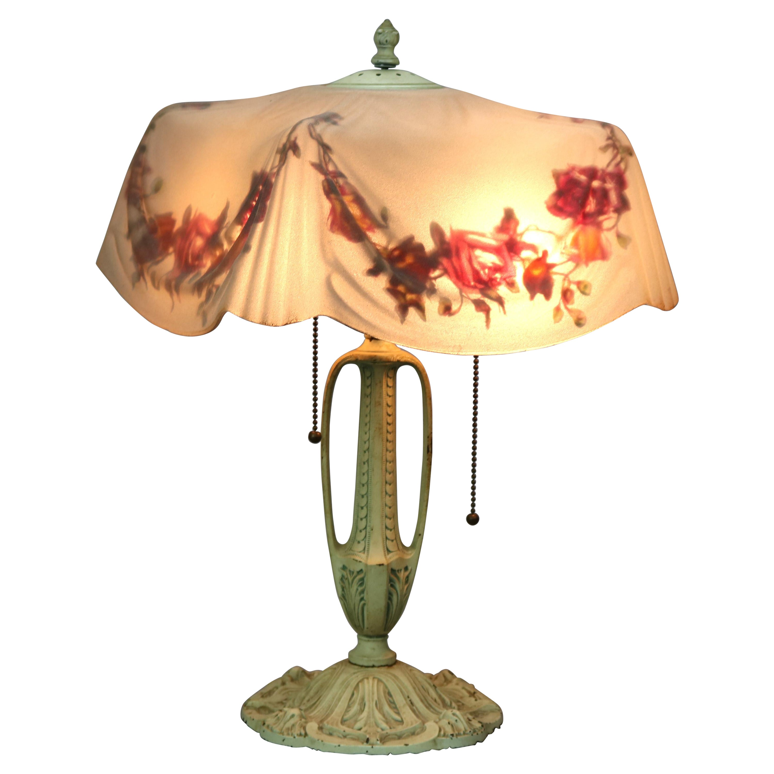 Antique Reverse Painted Pittsburgh Table Lamp with Molded Drapery Shade, c 1910