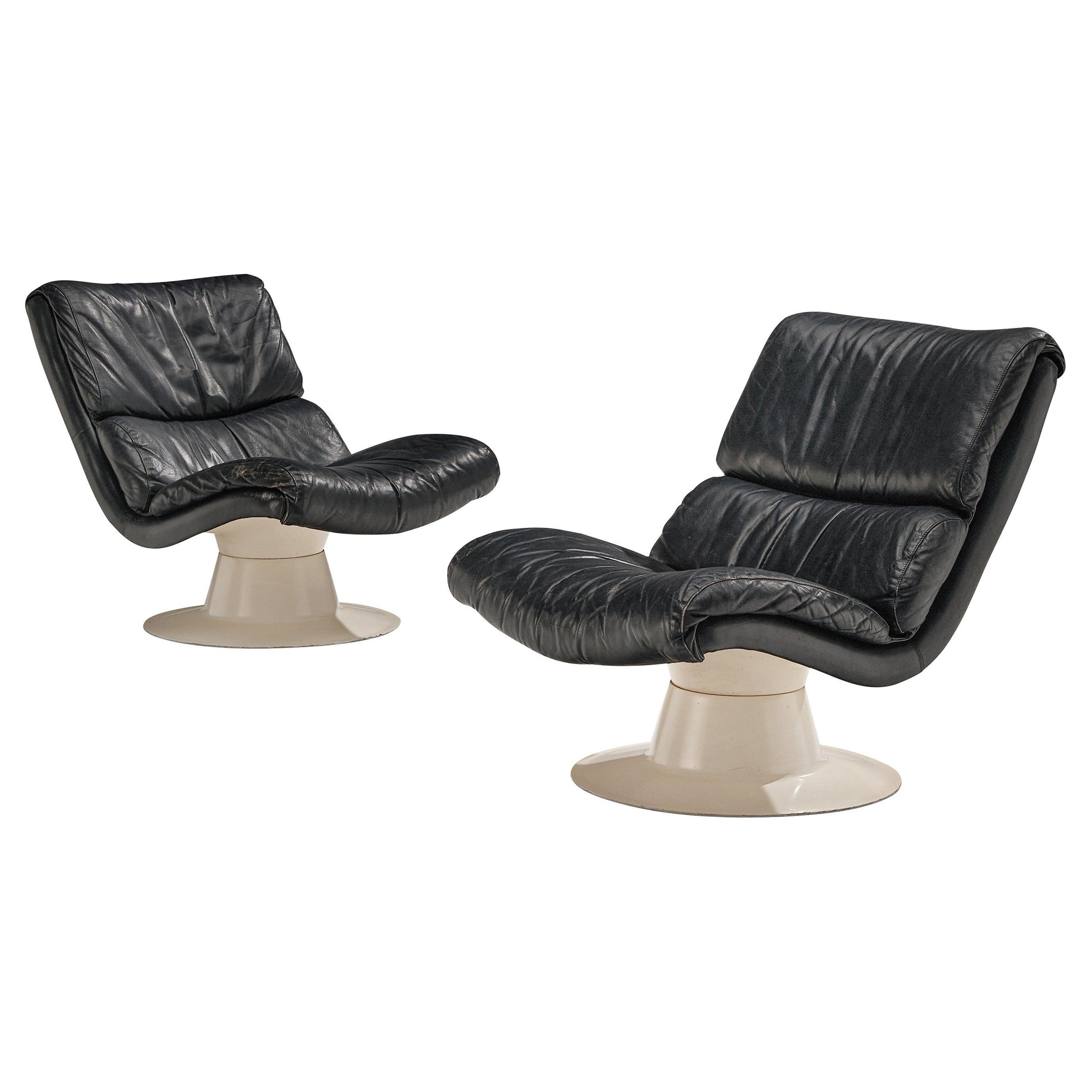 Yrjo Kukkapuro Pair of Lounge Chairs Model 'Saturnus C' in Black Leather