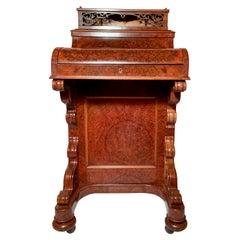 """Antique Burled Walnut """"Mechanical"""" Davenport Desk, Circa 1885."""