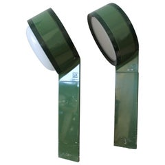 "Set of 8 Tobia Scarpa Italian Flos ""Tamburo"" Green Outdoor Lighting Fixtures"