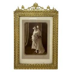 Antique French Art Nouveau Gold Bronze Desktop Picture Frame, circa 1900-1910