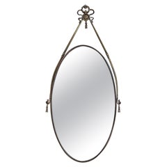 Italian Mid-Century Oval Shaped Brass Mirror with Decorative Structure, 1950s