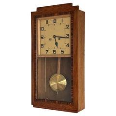 Rare Geometrical Design Dutch Arts & Crafts Oak and Coromandel Wall Clock