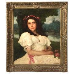 Early 20th Century Portrait of a Girl in White Dress