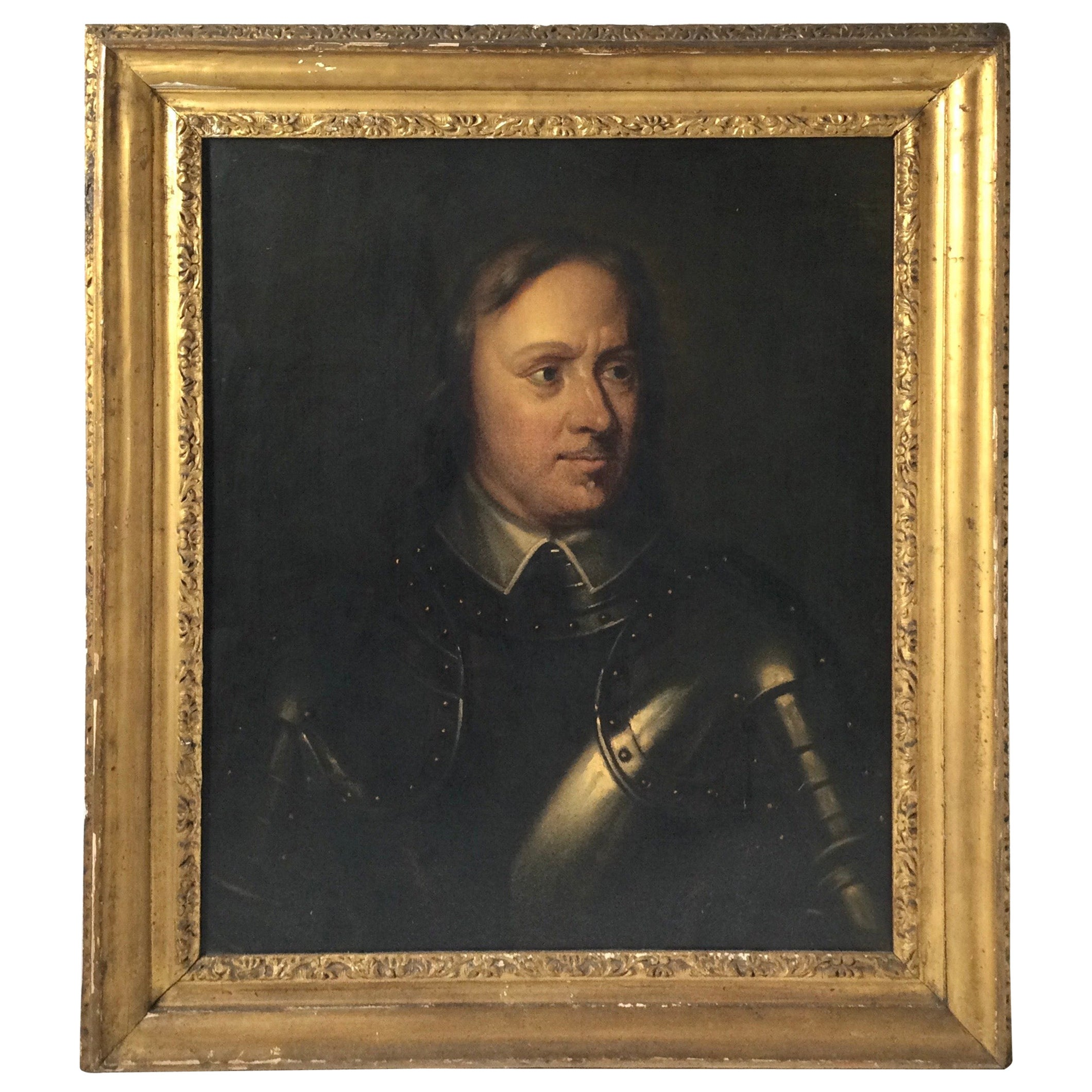 Early 19th Century Oil on Canvas Portrait of a Man in Armour