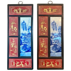 Pair Antique Chinese Blue & White Porcelain and Painted Wood Wall Panels Ca 1890