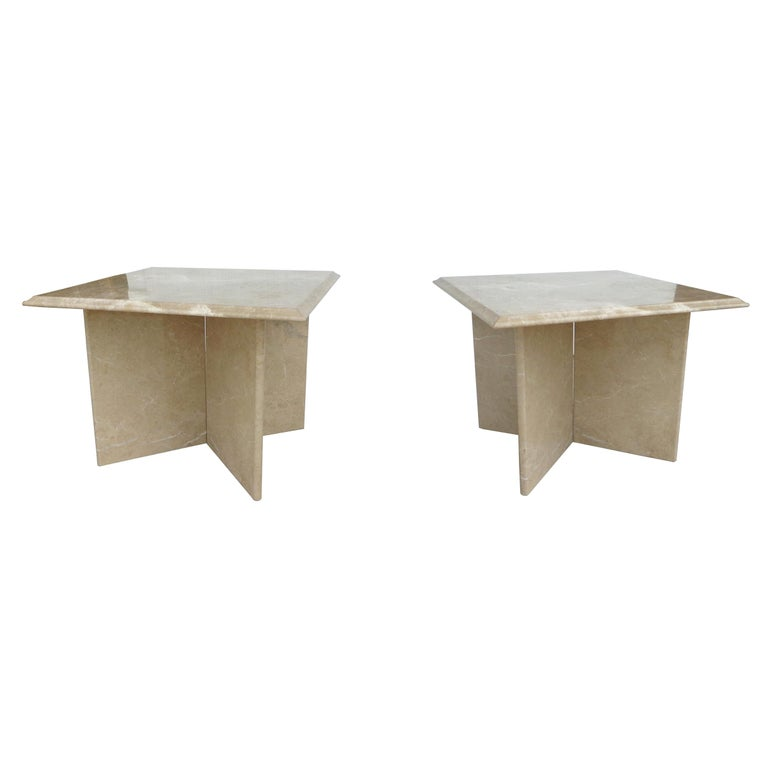Pair 1970s Italian Travertine Pedestal Side Tables For Sale