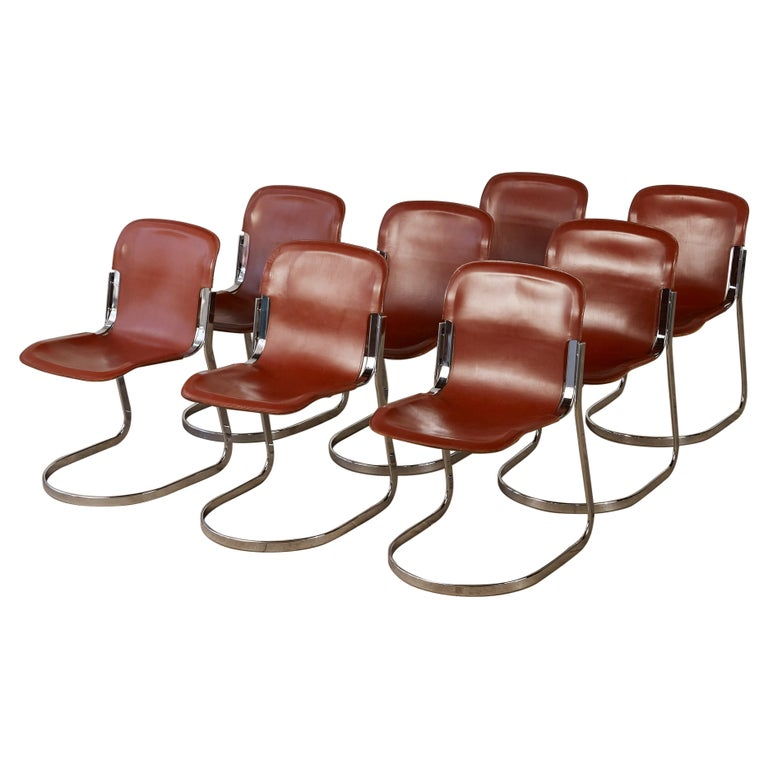 Set of 8 Willy Rizzo Chrome and Leather Dining Chairs for Cidue