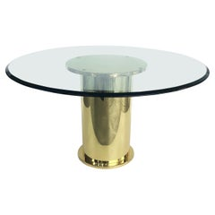 Vintage Polished Brass Dining Center Table with Glass Top