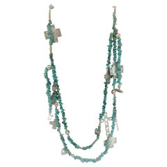 Rare T Foree Sterling Silver Cross Pendants & Navajo Turquoise Necklace