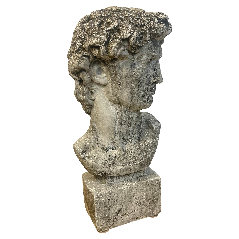 Vintage Garden Cast Stone Bust of Michelangelo's David