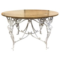 1940s French Wrought Iron Center Table Attributed to René Prou