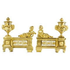 Pair of 18th Century Louis XVI Ormolu Firedogs / Andirons or Chenets with Putti