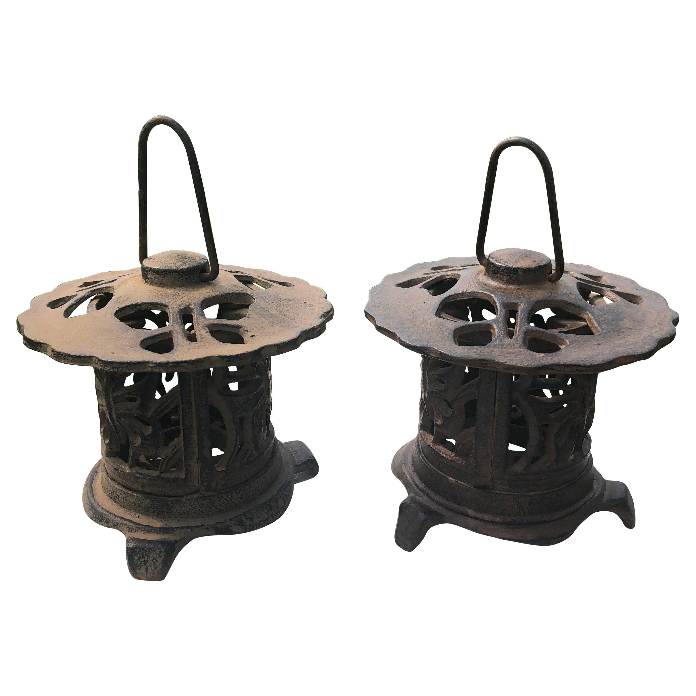 """Japanese Pair Antique """"Butterfly"""" Flower Garden Lanterns"""
