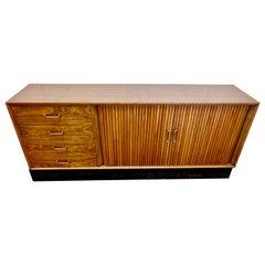 Mid Century Walnut Credenza Sideboard Buffet Credenza Dresser with Tambour Doors