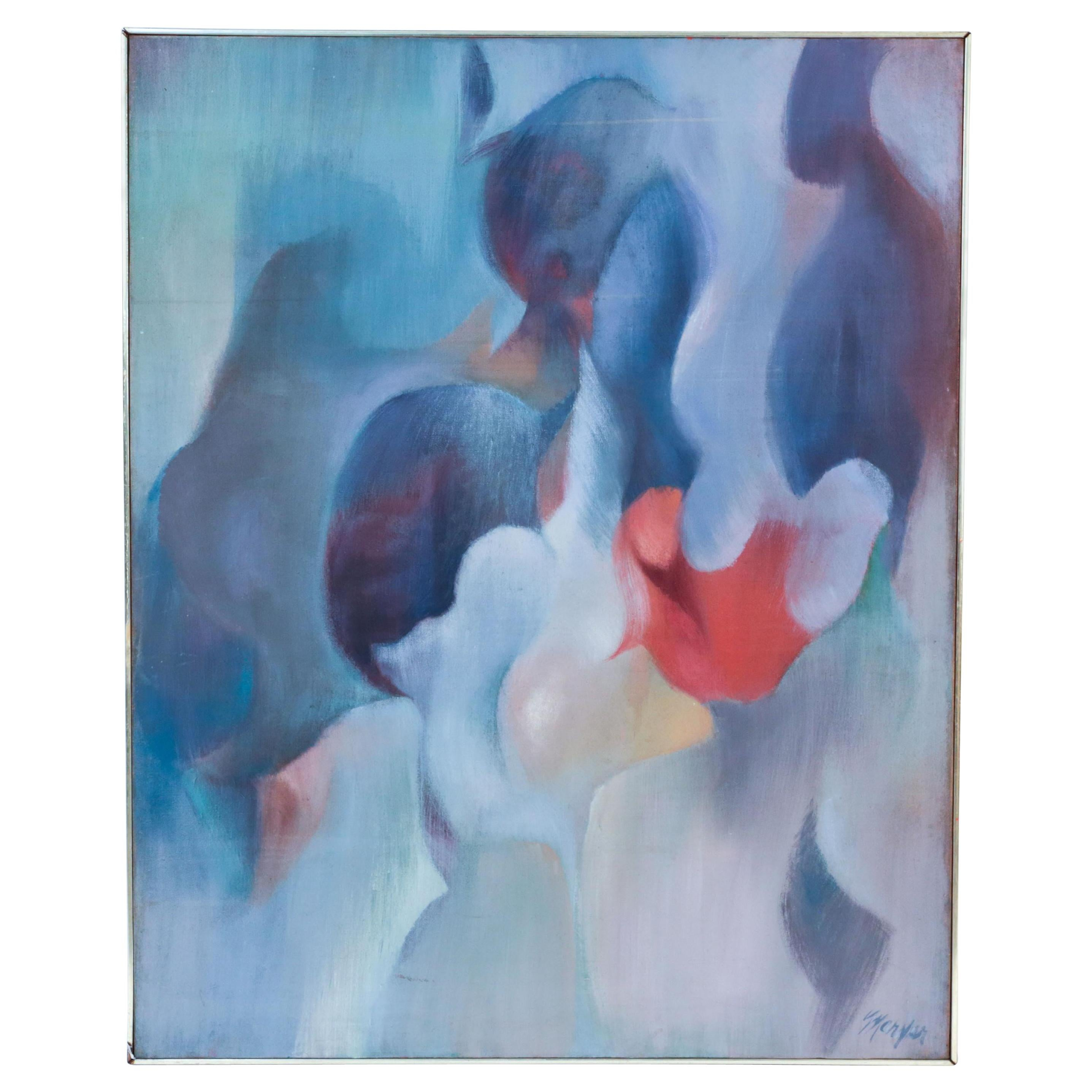 Large Abstract Painting in Blues and Pink