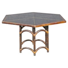 Vintage Bamboo and Brass Dining Room Table