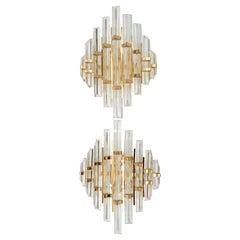 Venini Style Mid-Century Modern Italian Pair of Sconces Crystal & Brass Lights