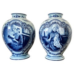 Pair of Large Delft Germany Faience Hand Painted Urns Vases
