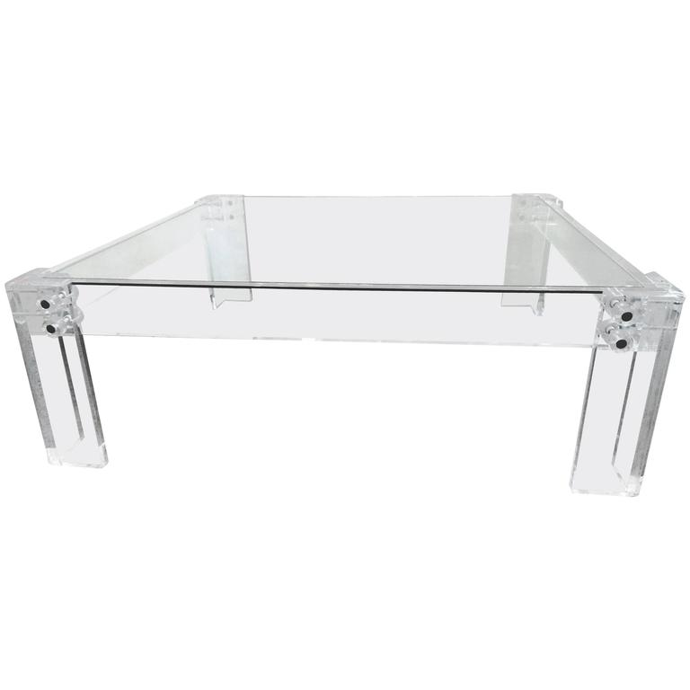 1970s Glass And Acrylic Square Coffee Table At 1stdibs