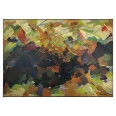 Original Abstract Painting by Bernard Sens Olive, Manner of Jackson Pollock