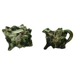 Majolica Shell Creamer & Sugar Bowl Set- 2 Pieces Circa 1950