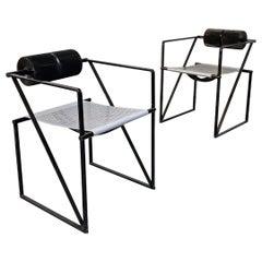 "Italian Mid-Century Black Metal Chairs ""Seconda"" by Mario Botta for Alias, 1985"