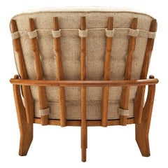 Guillerme & Chambron Lounge Chair Model 'Tricoteuse' in Oak