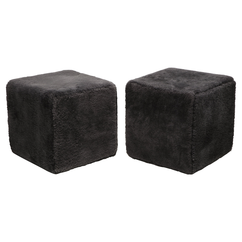 Venfield Custom Pair of Shearling Cube Foot Stools/Ottoman