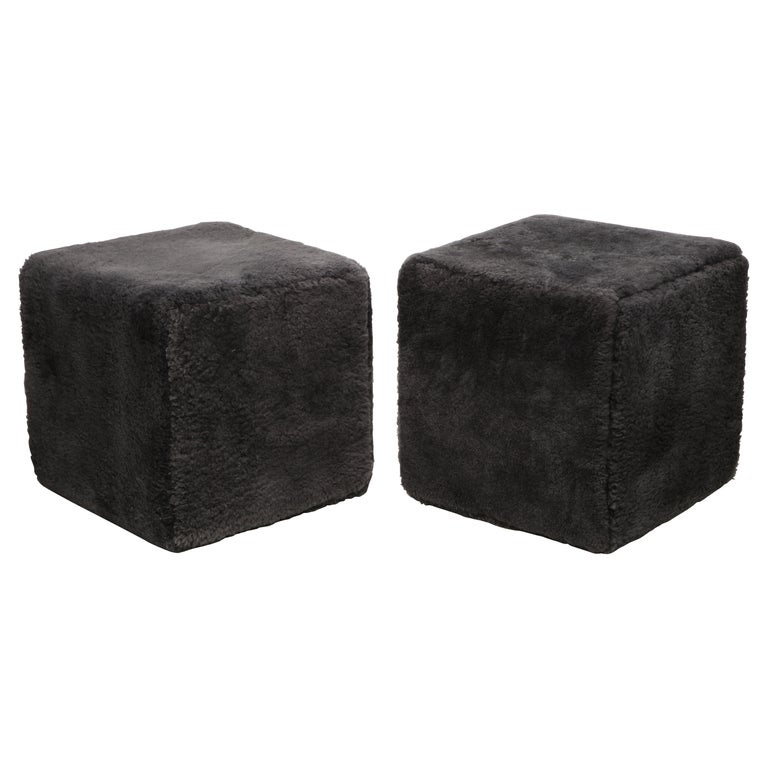 Venfield Custom Pair of Shearling Cube Foot Stools/Ottoman For Sale
