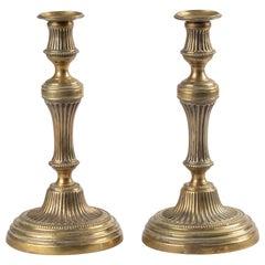 Pair of 19th Century Brass Candlesticks Louis XVI Style