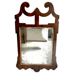 Antique 1780 English Carved Walnut Wood Chippendale Wall Mirror