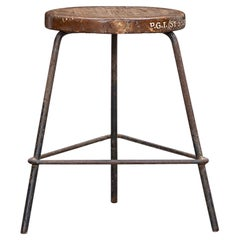 Single 1960s brown wooden and metal Stool by Pierre Jeanneret