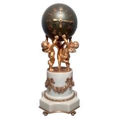 Antique French Louis XVI Ormolu and Patinated Bronze Clock, Circa 1860-1870