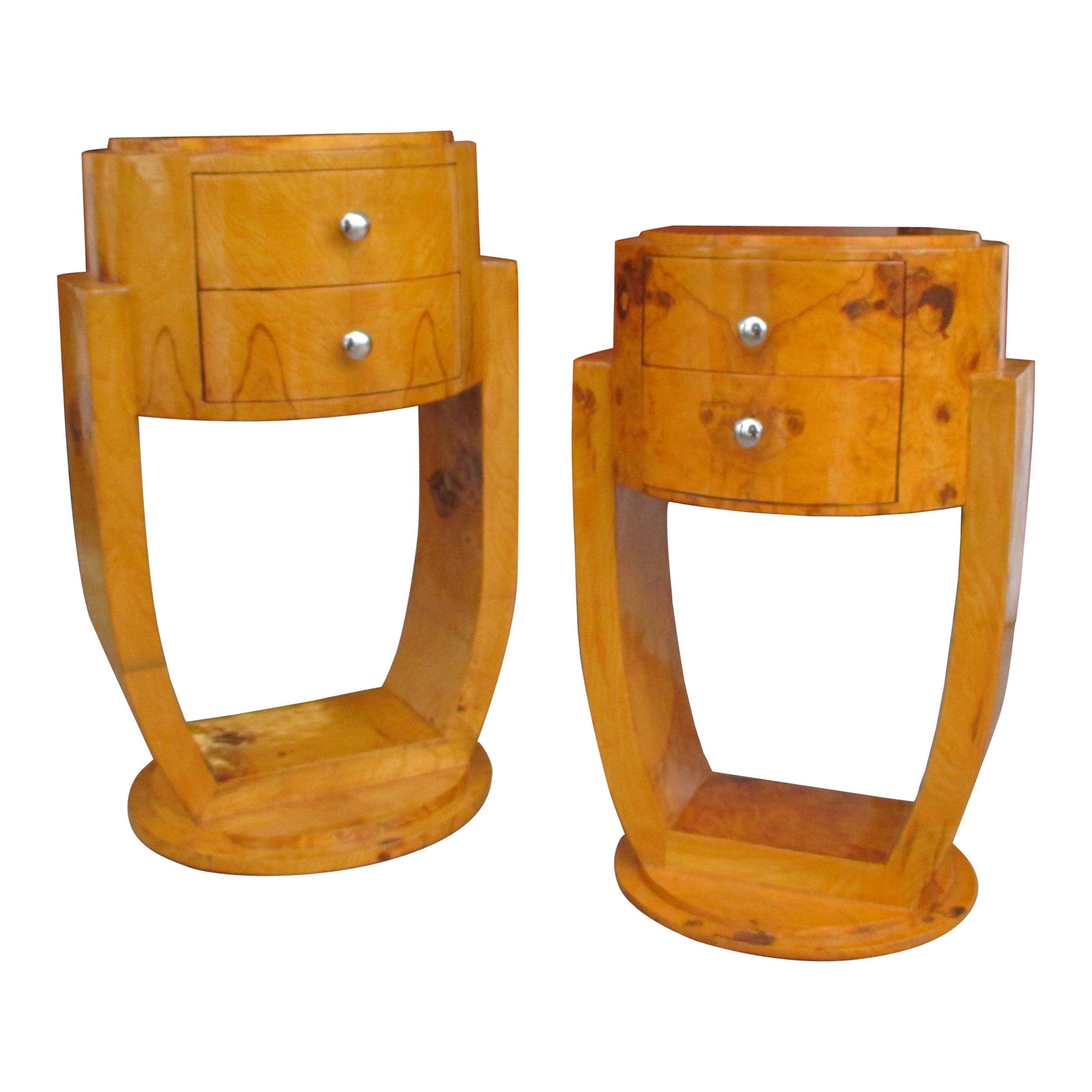 Pair Art Deco Style Burl Nightstands