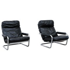 Pair of Jan Des Bouvrie Model S601 Leather Lounge Chairs for Gelderland