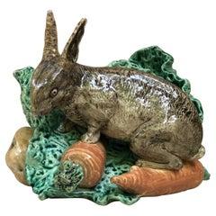 Very Rare Majolica Rabbit Cabbage Jardiniere Fives Lille, Circa 1890