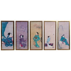 Set of 5 Hand Colored Prints of Japanese Women